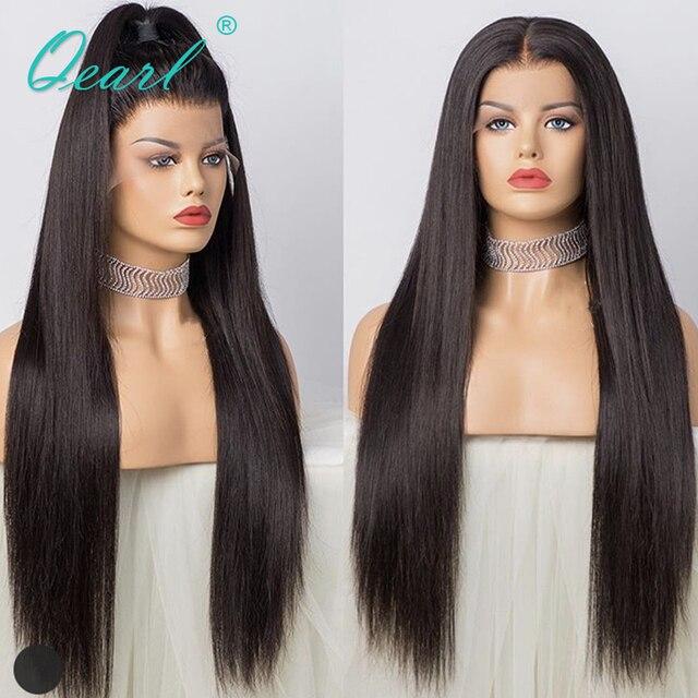 """Супер длинные 24 """"26"""" 28 """"полностью кружевные человеческие волосы, искусственные волосы, шелковистые, прямые, бразильские волосы Remy, предварительно выщипанные, средней части, с волосами ребенка Qearl"""
