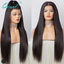 Pelucas de cabello humano súper largo de 24 pulgadas 26 pulgadas 28 pulgadas con encaje, pelo liso sedoso brasileño Remy, parte media pre desplumada con pelo de bebé qpearl