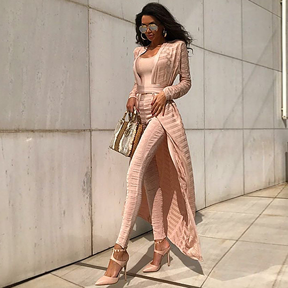 2018 Spring Celebrity Party Runway Women Coats Bandage Full Length Sets White Stereo Jacquard Women Basic Coat Wholesale