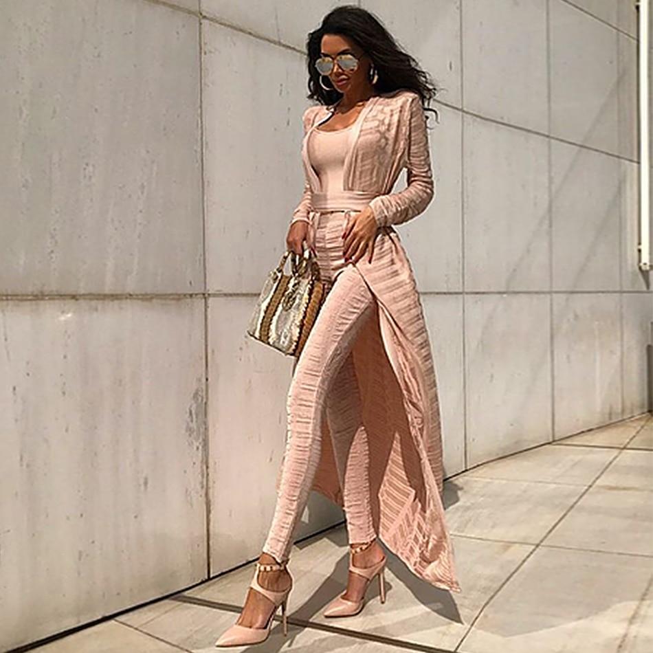 Newest Celebrity Evening Party Runway Women Coats Bandage Full Length Sets White Stereo Jacquard Women   Basic   Coat Wholesale