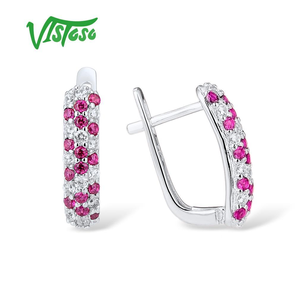 3c7e924d4c96 VISTOSO pendientes de plata para mujer rojo luminoso Spinels blanco ...