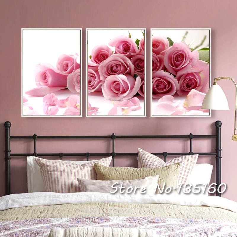 Modern Romantic Rose Red Flower Canvas Picture 3 Piece Wall Art Oil Painting Print On Canvas