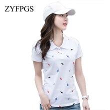 ZYFPGS 2019 New Summer Female Polos Shirt Lapel Printed Cotton Short-Sleeved Casual Slim Women Fashion Tops M-4XL L0514
