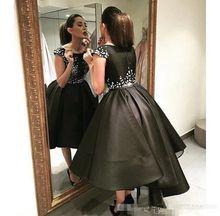 Fashion Black Ball Gown Prom font b Dresses b font With Flowers Sleeveless Tea Length font