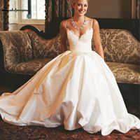 Popular Designs V Neck Wedding Dresses 2017 Speghetti Sexy Back Court Train Vestido De Noivas De