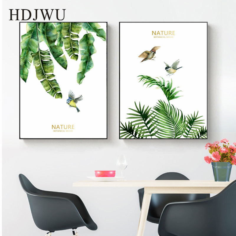 Art Home Canvas Pink Painting Wall Picture Hand painted Plants Leaf Printing Posters Wall Pictures for Living Room BedroomAJ0031 in Painting Calligraphy from Home Garden