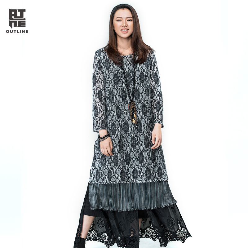 Outline Women Autumn Dresses Print Patchwork Knitted Full sleeve Medium-long Dress Loose Straight Pleated Casual Dress L163Y005
