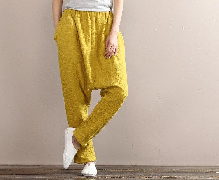 2019 Summer Women Vintage Elastic Waist Solid Haren   Pants   Mid Casual Cotton Linen Loose Trouser