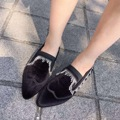 Vintage Tassel Chains Women Shoes 2016 Spring And Autumn Pointed Shoes Woman Flats Flock Shallow Mouth Black Flock Flat Shoes