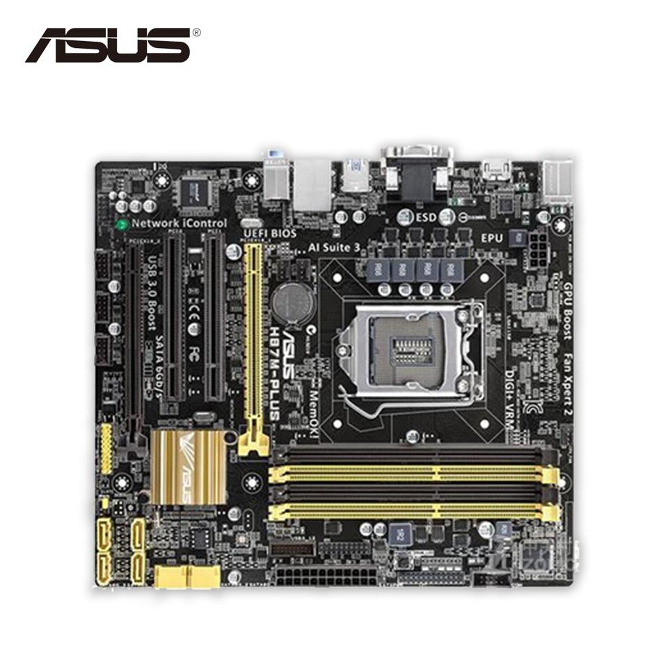Asus H87M-PLUS Original Used Desktop Motherboard H87 Socket LGA 1150 i7 i5 i3 DDR3 32G SATA3 UBS3.0 Micro-ITX asrock h61m vg4 original used desktop motherboard h61 socket lga 1155 i3 i5 i7 ddr3 16g usb2 0 micro atx