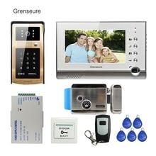 FREE SHIPPING 7″ Record Monitor Video Door Phone Intercom Kit + Metal Outdoor RFID Keypad Unlock Doorbell Camera + Electric Lock