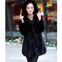 2018 New Arrival Women's Mink Fur Coat With Hoodie Long Style Full Sleeve Windbreak Real Fur Winter Coat Female