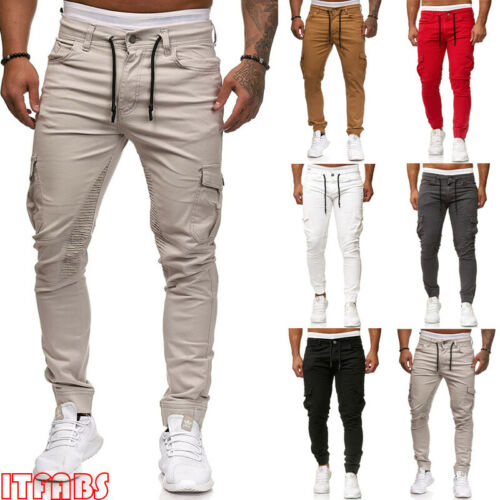 Stylish Simple Men Summer High-waist Lace-up Pockets Solid Slim Pencil Pants Overalls Pockets Outdoor Sports Casual Pants M-XXXL