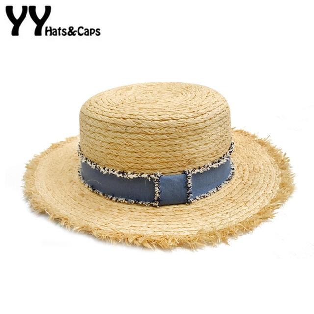 Retro Summer Sun HAT for Men Women Pur Color Raffia Straw Beach Cap Fashion  Flat TOP Sunhat Wide Brim With Denim Ribbon YY18055 6bf1c503ca8d