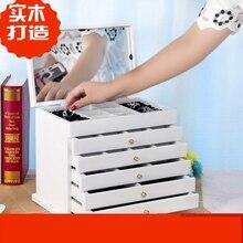 Biały/brązowy wielowarstwowy duży 6 pięter drewniana biżuteria Box biżuteria wyświetlacz trumny kolczyki pierścień pudełka organizer biżuterii pudełko