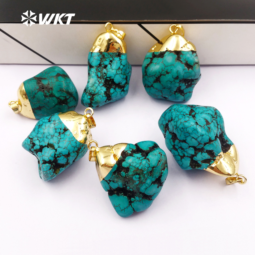 0ecd49ba206b WT-P246 Naturel bleu howlite pendentifs avec 24 k gold top, boho pierre  brute bijoux Pendentif