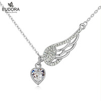 Angel Wings Necklaces Pendants 18K White Gold Plated Charm Designer Jewelry Ocean Blue Crystal For Women