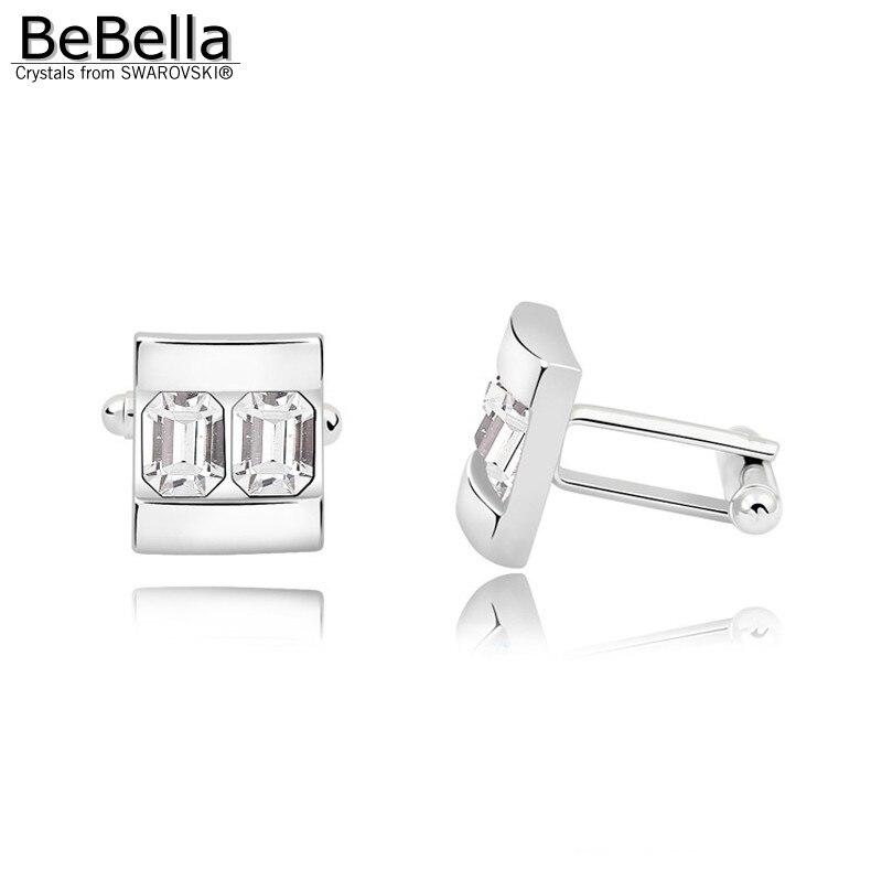 BeBella 5 цветов запонки с кристаллами сделаны с элементами Swarovski для подарка на День отца - Окраска металла: Crystal