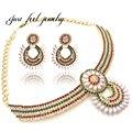 Diseño de moda de cobre piedras crystal choker collar collar llamativo mujeres shell & forma de arroz perla joyería set de 1 unidades