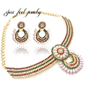 Vogue Design Copper Rhinestones Crystal Statement Necklace Collar Women  Shell&Rice Shape Pearl Choker Jewelry Set 1Piece