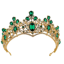 2019 New Fashion Green Crystal Crown Hair Accessories For Women Temperamental Exquisite Bridal Tiara Jewelry Gifts