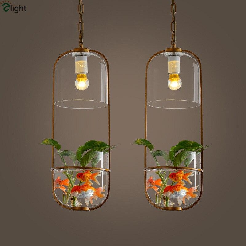 Modern Novelty Metal Led Pendant Lights Glass Tank Living Room Led Pendant Lamp Dining Room Pendant Light Hanging Light Fixtures