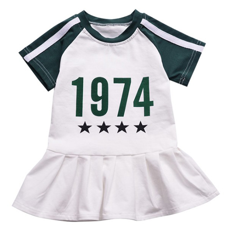 Summer Baby Girls Sport Dress Vestidos Kids Letter Clothes Dress White Green Sweat Dress Toddle Kids Preppy Style Girls Costumes