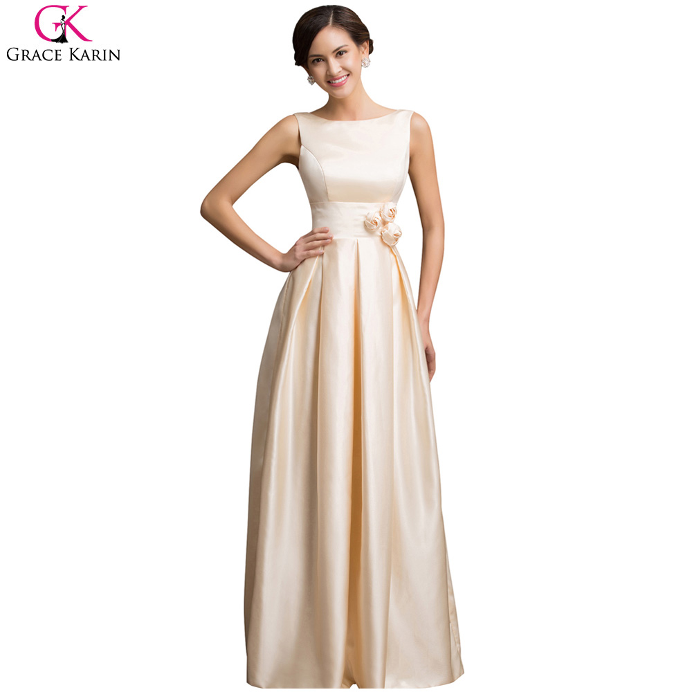 Grace karin sexy satin apricot elegant long formal evening for Dresses for afternoon wedding