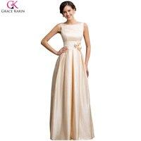 Grace Karin Sexy Low Back Satin Bridal Dress Elegant Long Formal Evening Dresses 2016 New Arrival