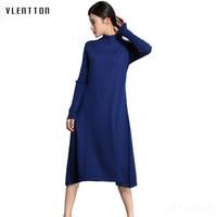 2018 New Spring autumn Women Sweater Dress Women Casual Wool Dresses O Neck Loose Long Dresses
