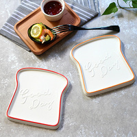 1 piece Toast shape Porcelain Bread Tray Breakfast Dinner Dish Cheeses Butter Plate Dinnerware
