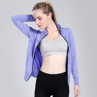 Vertvie Women Zipper Yoga Shirt Cotton Long Sleeved Yoga Tops Fitness Spring Quick Drying Sports Jacket