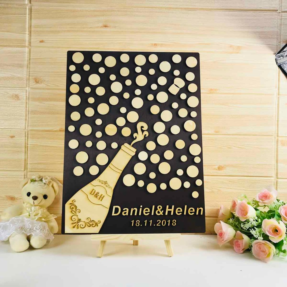 Personalized Wood wedding guest book alternative Champagne bottle Gold and Beige Wedding Sign Theme 3D Unique