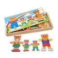 Juguetes del bebé de la historieta 4 oso se visten de cambio / rompecabezas de madera juguetes educativos Puzzle desarrollo temprano regalo de cumpleaños del niño