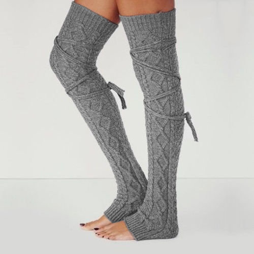 Newly Design Women Winter Warm Solid Leg Warmers Wool Knitting High Knee Socks AUTUMN Ruffle Trim Leg Warmers Boot Topper Socks