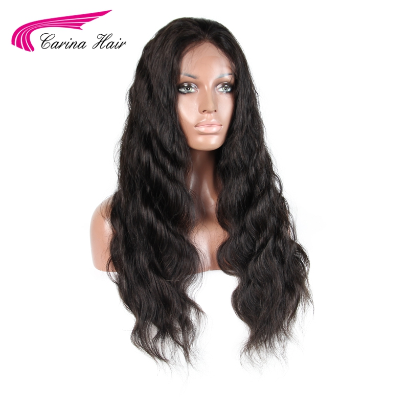 Carina 180 Density Peruvian Non-Remy Human Hair Lace Front Human Hair Wigs For Black Women Pre Plucked Hairline Natural Color
