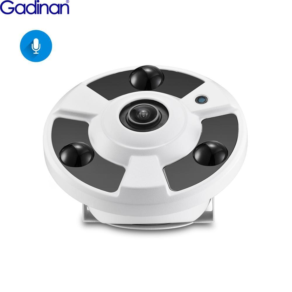 Gadinan H.265 IP Camera Audio Mic 1.7MM Fisheye Lens 5MP 4MP 2MP Panoramic ONVIF Surveillance Outdoor Xmeye Could DC12V/ POE 48V