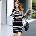 2016 Autumn Winter Long Sleeve Knit Striped Tops And Skirt Suits Women Brand Crop Top Short Skirt Slim Women's 2 Piece Set Dress