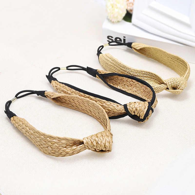 LEVAO Kore Tarzı Katı Düğümlü El Yapımı Hasır Bandı Türban Kadınlar için Kızlar Hoop Çerçeve Hairbands saç aksesuarları Şapkalar