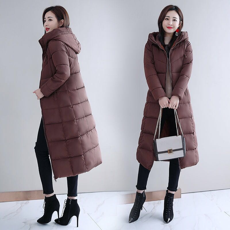 Hodisytian 6XL 2019 Winter Women Overcoat Long Padded Hooded   Parkas   Cotton Outerwear Casual Slim Warm Female Wadded Plus Size