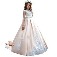 ball gown dress for girls floor length little girls lace dresses applique first communion dress fancy party dresses for girls