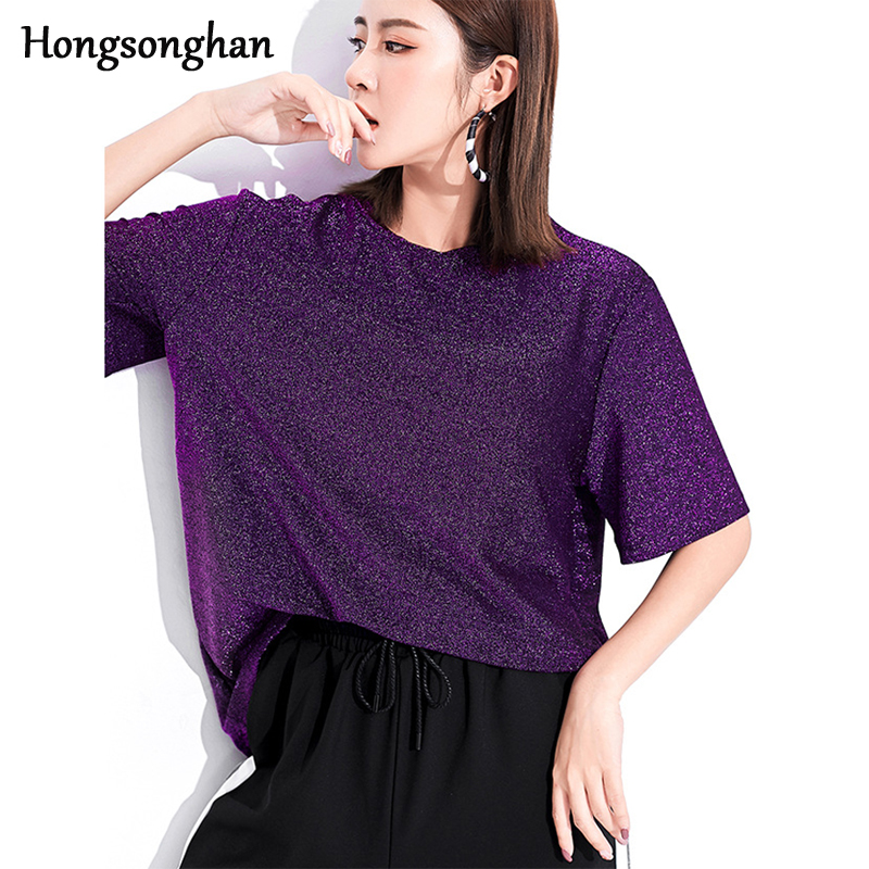 Hongsonghan Summer thin style bright silk shirt ladies loose all match solid color elastic T shirt short sleeve Lurex T shirt