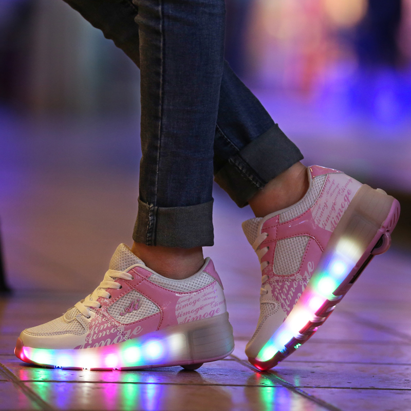 2018 lippers Led Usb shoes Light up Slippers do with Lights Sneakers Child Jazzy Heelys, Junior Girls&Boys LED Light Heelys,