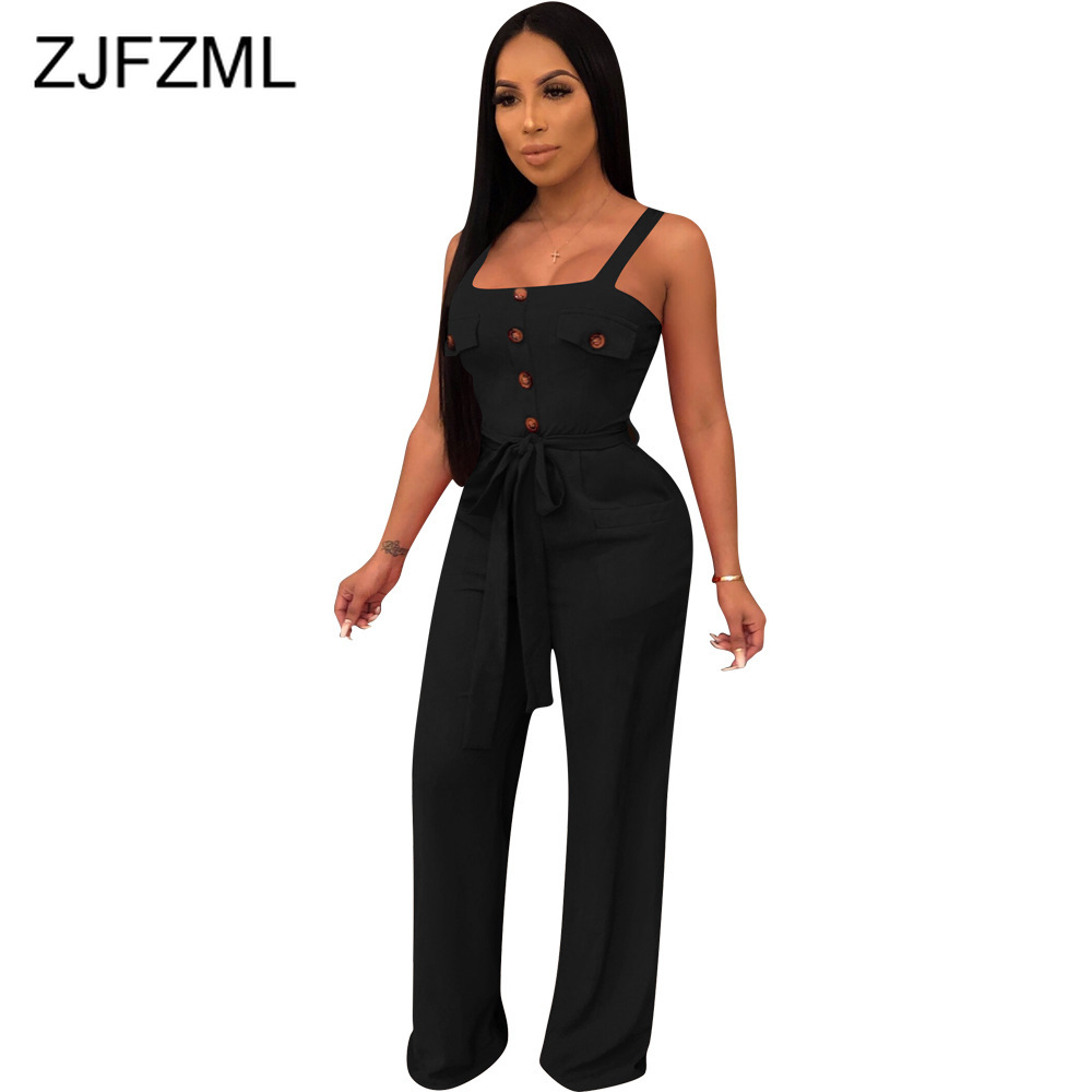 Buttons Up Elegant Jumpsuits For Women Spaghetti Strap Backless Wide Leg Romper Summer  Sleeveless Pockets Belted Party Overall