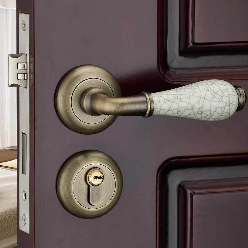 High Quality Room Door Lock Thick Lock Cylinder Separate Ceramic Handle Locks Bathroom Bedroom Wooden Door