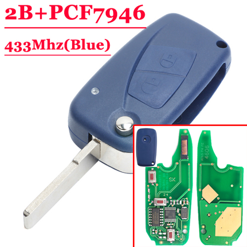 (1piece)Blue 2 button flip Remote Key 433mhz for FIAt 500 Panda Punto Bravo key with PCF7946 chip for fiat punto fiat 500 stilo panda small hole ventilate wear resistance pu leather front