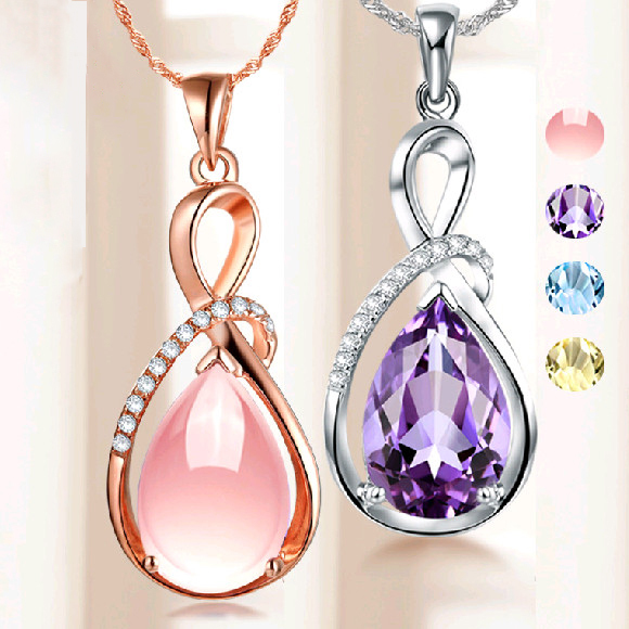 Fashion Pendants Necklaces For Women Jewelry Classic Rose Gold-color Crystal Rhinestone Water Drop Charm Pendant