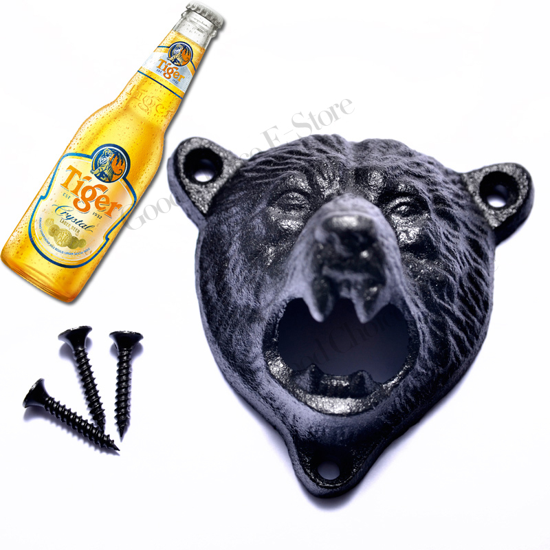Metal Cast Iron Wall Mounted Bottle Opener Cap Lifter for Beer Cola,Bar,Pub,Kitchen With 3 Screws,Bear/Dog-Head