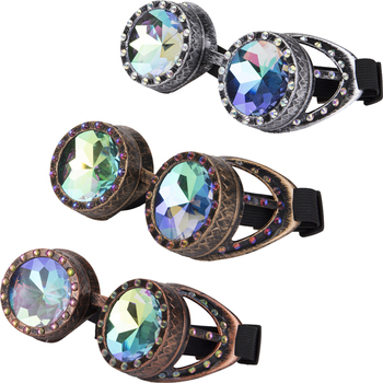 Steampunk Goggles With Colorful Lens Rave Festival Party EDM Glasses Cosplay Vintage Glass Eyewear Gemstone Series 2