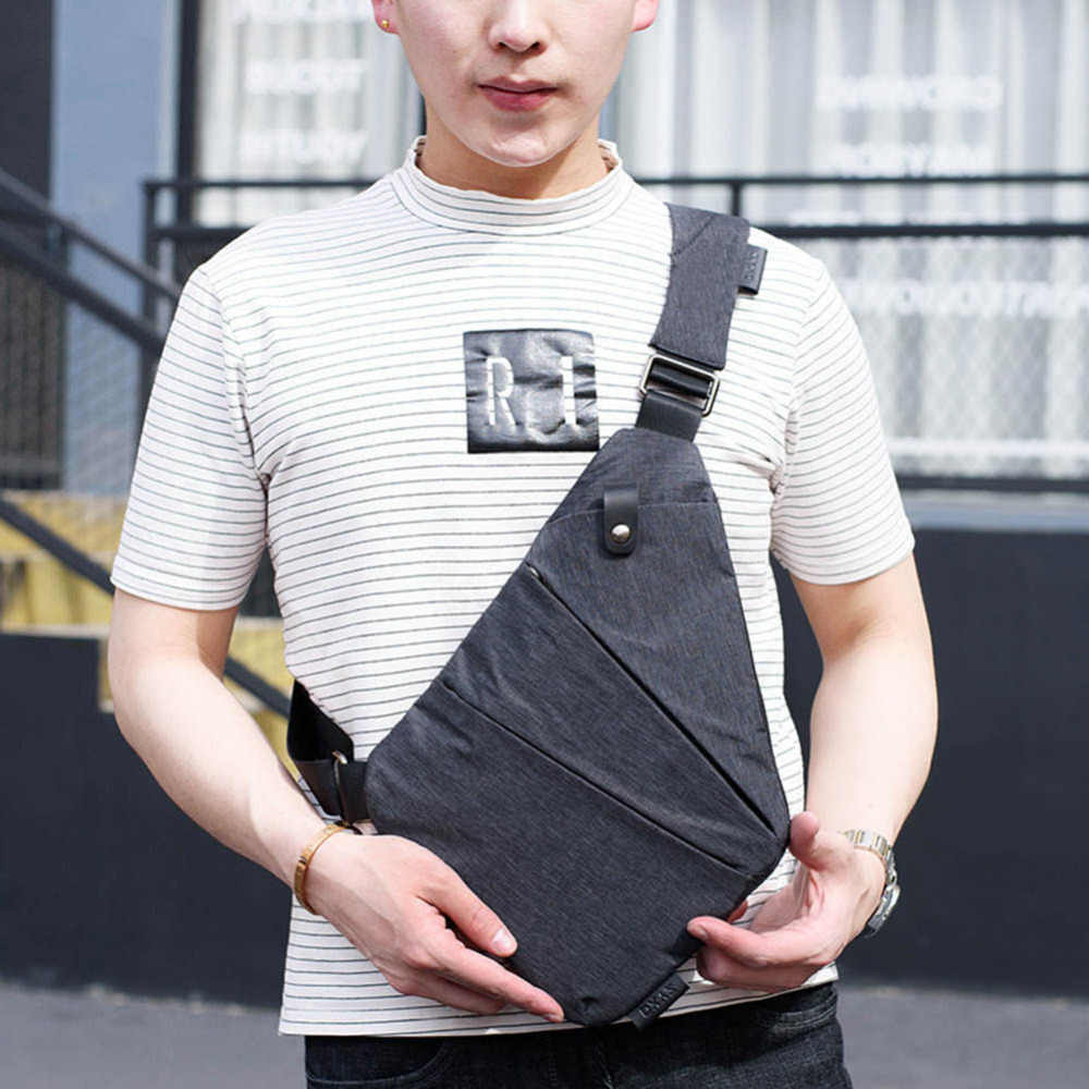 Dropshipping Anti-Theft Male Chest Bag Men Hidden Shoulder Messenger Bag Casual Retro Crossbody Bag Canvas Motorcycle Sling Bag